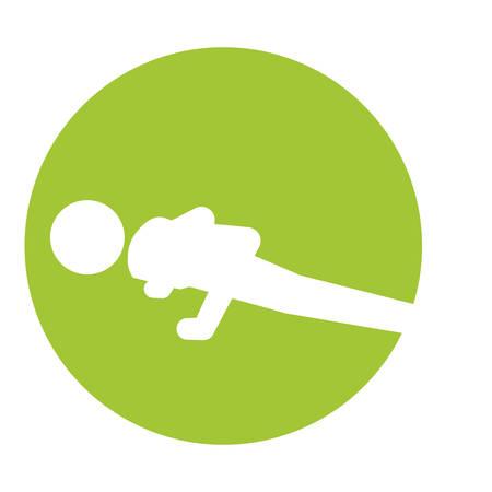 man silhouette practicing push ups icon vector illustration