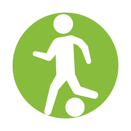 man silhouette player soccer green circle vector illustration