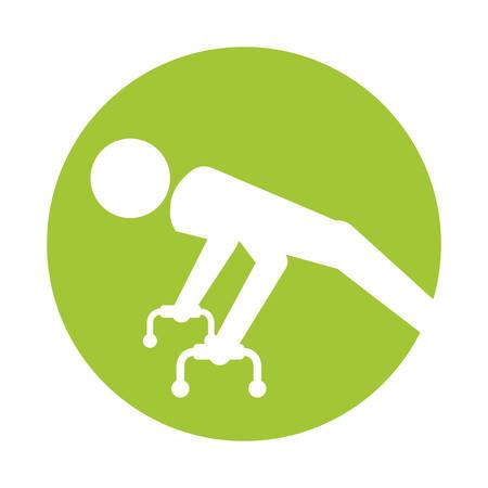 execute: silhouette sportsman gymnastic pommel horse vector illustration Illustration