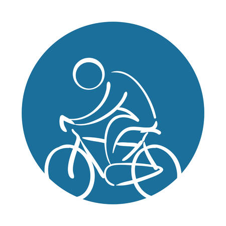 cyclist silhouette sport health icon vector illustration Illustration