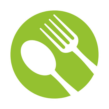 spoon fork utensils eat icon green background