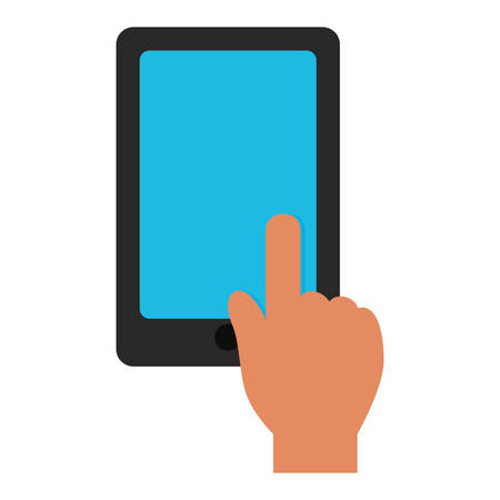 touch: hand touch tablet blue screen graphic vector illustration