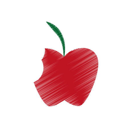 hand colored: hand colored drawing apple bite icon vector