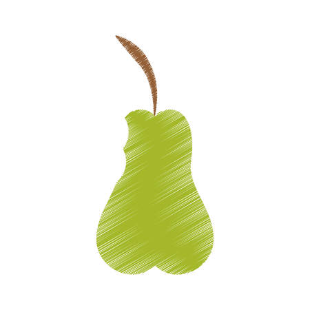 hand colored drawing pear bite icon vector
