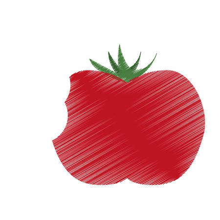 hand colored: hand colored drawing tomato bite icon vector