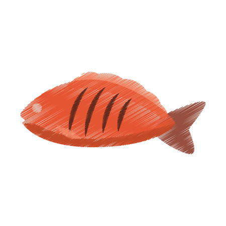 hand colored: hand colored drawing fish icon vector illustration