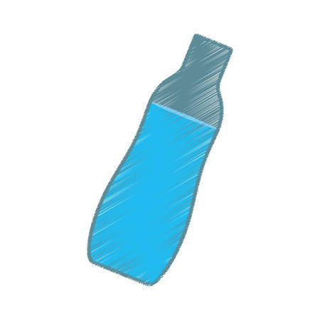 hand colored: hand colored drawing bottle water icon vector Illustration