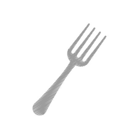 hand colored: hand colored drawing fork icon vector illustration