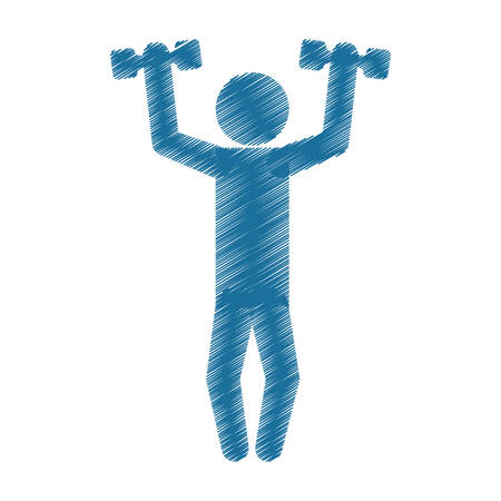 drawing colored silhouette man lifting dumbbell vector illustration Illustration