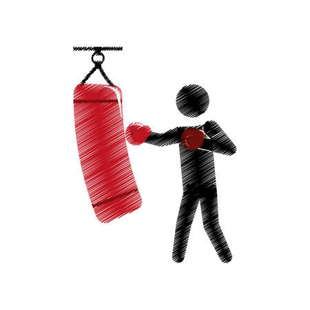drawing colored silhouette boxer trainer punching bag vector illustration