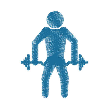 drawing colored silhouette strong man dumbbell vector illustration