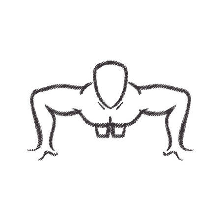 man silhouette exercising push ups front vector illustration Illustration