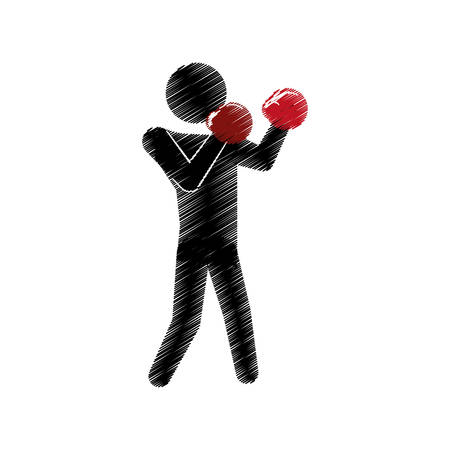 drawing colored silhouette man boxing posing defense vector illustration