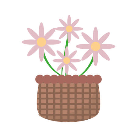 basket with pink flowers icon vector illustration Illustration