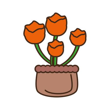 ful: orange flower on basket icon vector illustration Illustration