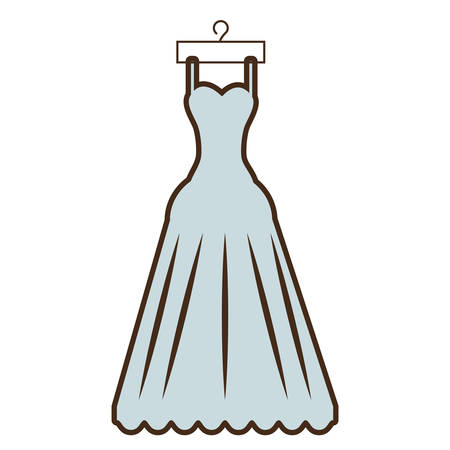 cartoon beautiful dress bride hanging vector illustration