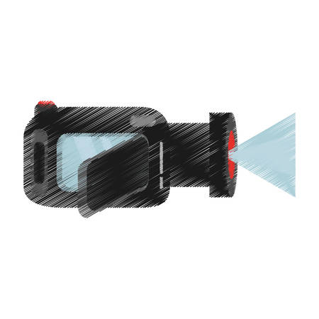 hand colored: hand colored drawing video camera icon vector illustration Illustration