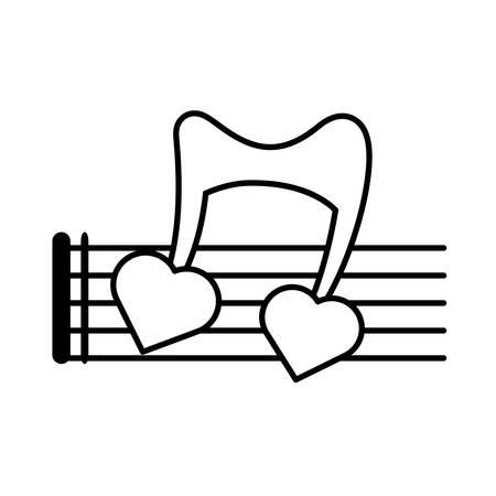 pentagrama musical: musical staff note hearts love design vector illustration