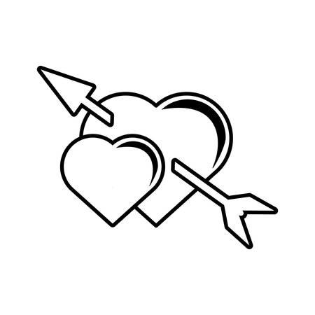 twee hart pijl liefde valentines symbool ontwerp vector illustratie