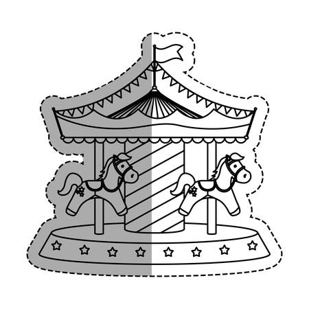 amusement park black and white: Carrousel circus festival icon vector illustration graphic design