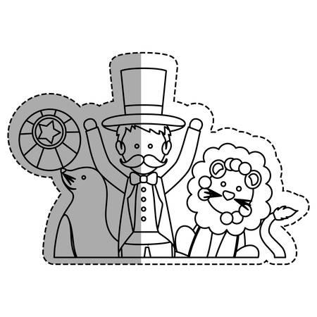 lion tamer tamer circus cartoon icon vector illustration graphic design