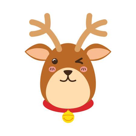 necklaces: Reindeer xmas cartoon icon vector illustration graphic design Illustration