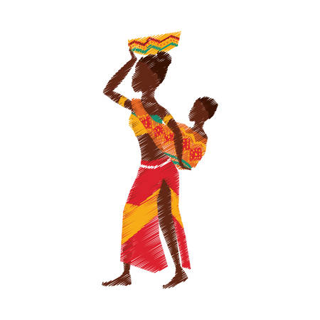 African woman baby icon vector illustration graphic design Illustration