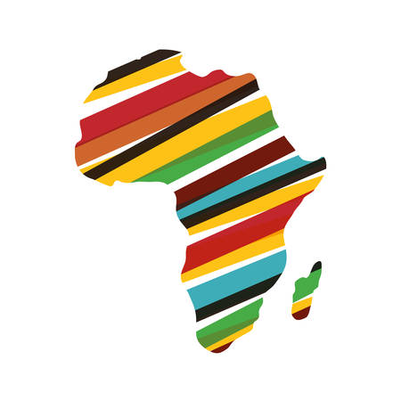 África mapa icono de la silueta ilustración vectorial diseño gráfico