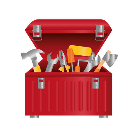red tool box over white background. repairs tools design. vector illustration