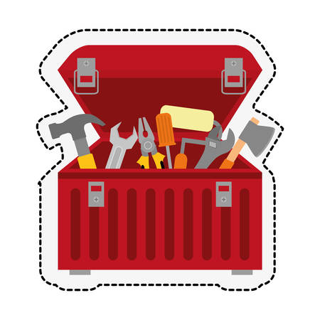 adjustment: red tool box over white background. repairs tools design. vector illustration Illustration