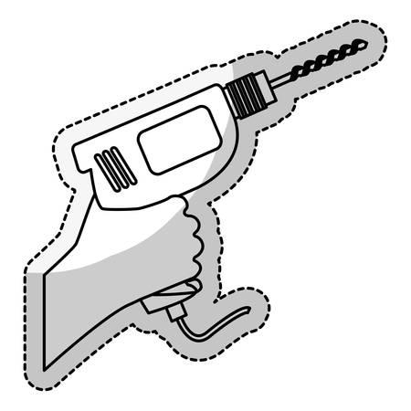 repairs: drill icon over white background. repairs tools design. vector illustration Illustration