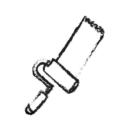 box cutter: paint roller tool icon image vector illustration design