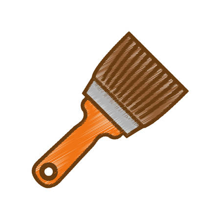Paint brush icon over white background. repair tools concept. sketch and draw design. vector illustration