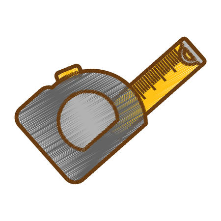 tape measure icon over white background. repair tools design. vector illustration Illustration