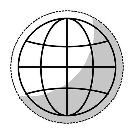 meridiano: earth globe diagram icon image vector illustration design