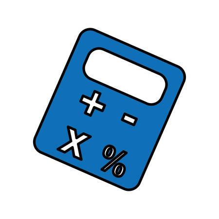 blue calculator device icon over white background. vector illustration