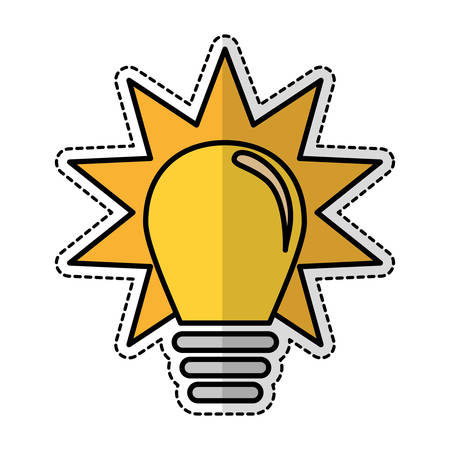 yellow bulb light sticker icon over white background. vector illustration