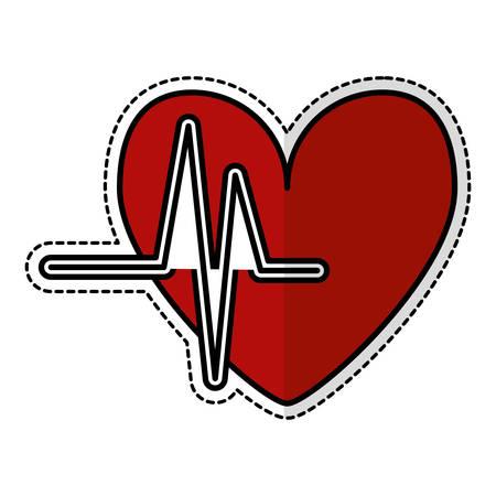 pulsating: cardio pulse heart sticker icon over white background. vector illustration