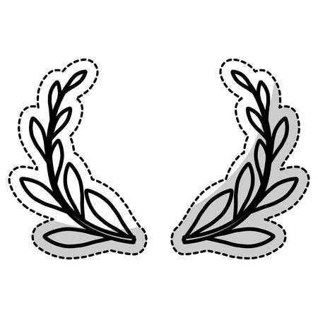 decorative wreath of leaves icon over white background. vector illustration