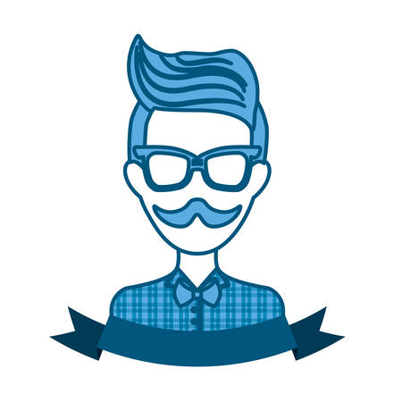 hipster manblue tone emblem icon image vector illustration design