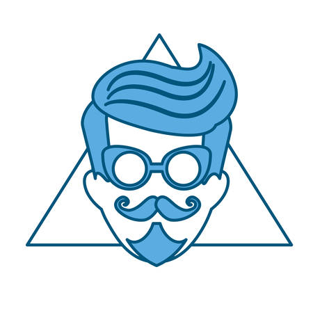 hipster manblue tone emblem icon image vector illustration design