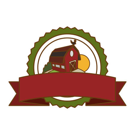 barn wood: seal stamp with farm barn icon over white background. colorful design. vector illustration Illustration