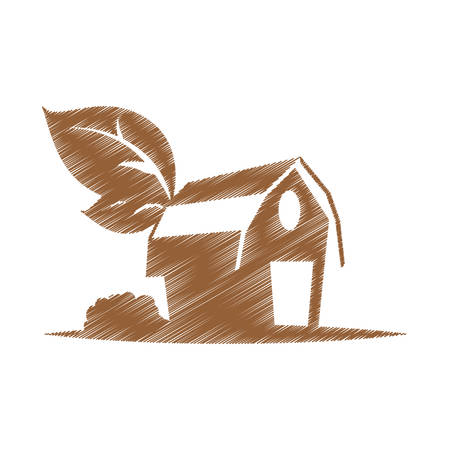 farm barn icon over white background. colorful and sketch design.  vector illustration