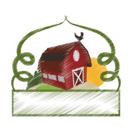 frame with farm barn icon over white background. colorful and sketch design. vector illustration