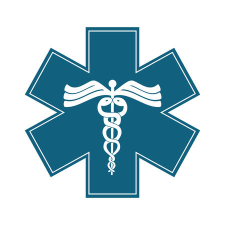 caduceus medical symbol: caduceus medical symbol icon overe white background. colorful design. vector illustration Illustration