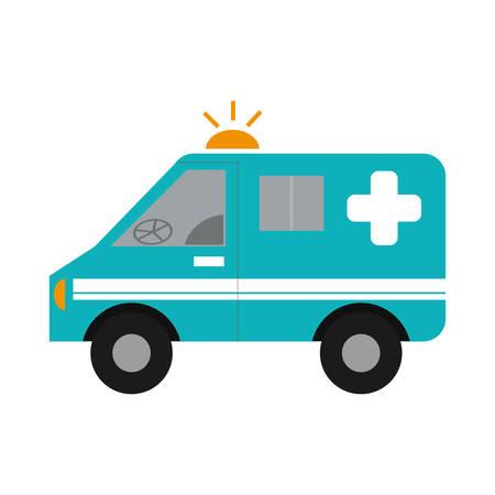 emergency vehicle: ambulance emergency vehicle icon over white background. colorful design. vector illustration