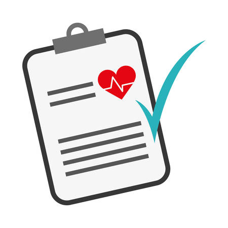 medical report with cardio pulse and check icon over white background. colorful design. vector illustration