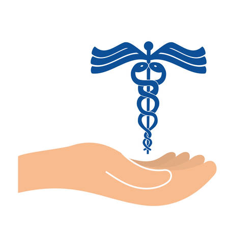 hand with caduceus medical symbol icon overe white background. colorful design. vector illustration