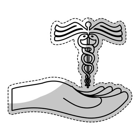 caduceus medical symbol: sticker of hand with caduceus medical symbol icon over white background. vector illustration