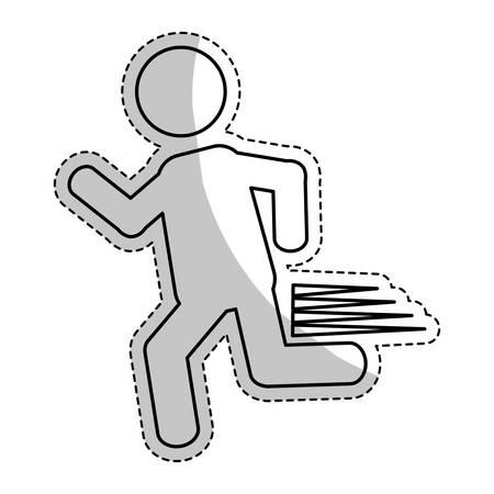 sticker of man running icon over white background. pictogram design. vector illustraiton Illustration